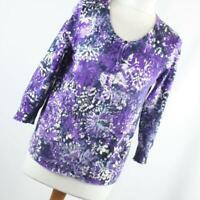 BHS Purple Floral Cotton Blend Womens Cardigan Size 12