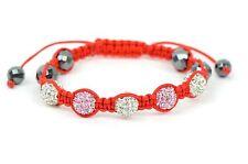 Crystal Disco Ball Macramé 10mm Shamballa Bracelet with Genuine Hematite stone