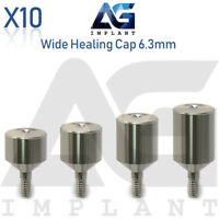 10 Wide Healing Cap Abutment 6.3mm Titanium For Dental Implant Internal Hex
