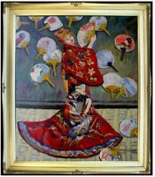 Framed, Claude Monet Japanese Lady Repro, Hand painted Oil Painting 20x24in