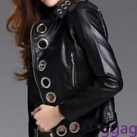 Motorcycle Womens PU Leather Short Jacket Metallic Rivet Rings Fashion Slim Coat