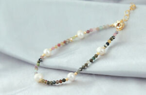 D13 Bracelet Gold Plated White Freshwater Pearls Colourful Tourmaline