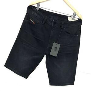 ⭐ Mens Diesel Thoshort slim fit stretch black denim jeans shorts 0JAXJ size W32