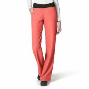 Wonder Wink Easy Fit 2x Women's No-Roll Knit Waist Scrub Pants 5225 coral NWT