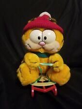 "Vintage Garfield Stuffed 1981 Dakin 8"" Sledding Garfeild Plush-Adorable"