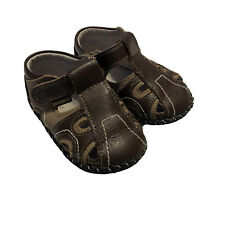 Pediped Girls Baby Shoes Sandals Brown Leather 12-16 Months Size 5 - 5.5 Walker
