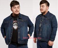 Mens Cotton Denim Jacket Jeans Coat Long Sleeve Classic Outwear Big Size M-7XL