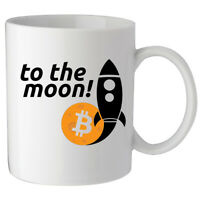 Bitcoin To The Moon Rocket Crypto Logo Custom Made Ceramic Coffee Tea Mug Cup