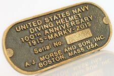AJ MORSE BOSTON USN DIVING HELMET 100TH ANNIVERSARY BELT BUCKLE MARK V 1915 2015