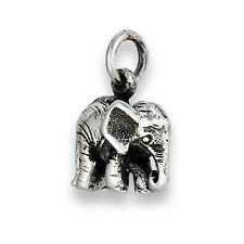 Interesting 925 Sterling Silver Detailed ELEPHANT Pendant Charm Jewelry