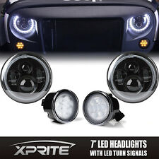Turn Signal LED Headlight Combo Philips with Halo Amber For 07-17 Jeep Wrangler