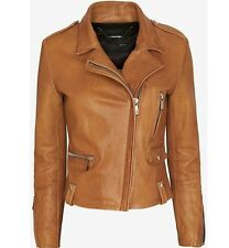 BARBARA BUI BROWN LEATHER JACKET MEDIUM FR 40 UK 10