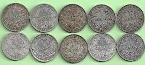 1 Mark Kaiserreich, Silber, Lot mit 10Stück, großer Adler