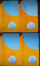 Lot of 4 At&T Standard size Sim Cards No Service for Test/Bypass only