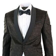 Mens Slim Fit Velvet Paisley Blazer Trouser Tuxedo Dinner Suit Coco Brown Black