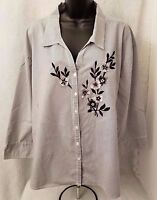 Las Olas Womens Black White Striped Floral Button Down Shirt Top Blouse Size 2X