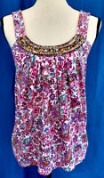 Express Womens Blouse Top Size XS Floral Paisley Purple Pink Cami Boho Sequin