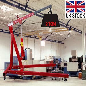 2 Ton Hydraulic Folding Engine Crane Hoist Lift Stand Wheels Workshop UK STOCK