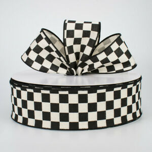 """1 metre 63mm (2.5"""") BLACK/WHITE CHEQUERED FLAG WIRED EDGE RIBBON"""