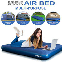 Double Air Bed Inflatable Airbed Flocked Guest Camping Mattress Comfort Camping