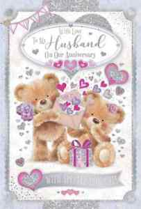 """With Love To My Husband on our Anniversary Card. Large Card 9"""" x 6""""."""