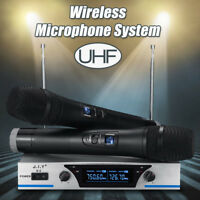 UHF Wireless Microphone System Audio Dual Handheld LCD 2 Channel Party KTV