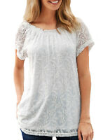 UK Sizes 8-34 Ladies Long Lace Short Sleeve Lined Tunic Gypsy Top Black Ivory
