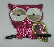 Sequin Patch: Pink Owl