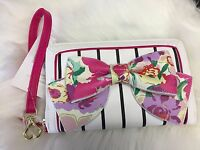 New! BETSEY JOHNSON WOMEN FLORAL BOW OVERSIZE ZIPAROUND WALLET WRISTLET POUCH