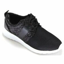 Womens Ladies Lace Up Glitter Sparkly Sneakers Trainers Fitness Gym Pumps Size