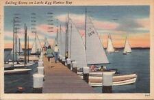 Postcard Sailing Scene on Little Egg Harbor Bay NJ