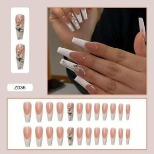3D Butterfly Long Coffin Full Artificial Press On Nails White French False Nails