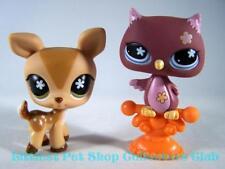 Littlest Pet Shop Authentic Whitetail DEER lot #634 OWL #635 Rare Retired EUC