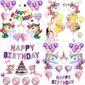 Happy Birthday Unicorn Theme Sets Pretty Party Decorations Hot Supplies Balloons