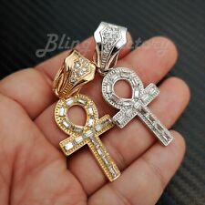Hip Hop Iced Crystal Egypt Ankh Cross Gold Silver plated Bling Charm Pendant