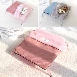 Elevated Folding Pet Bed Travel Cat Dog Sleeping Bed with Plush Cushion Mattress