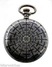 Vintage 1920's  Elgin American ART DECO Silver Niello Hunting Case Pocket Watch