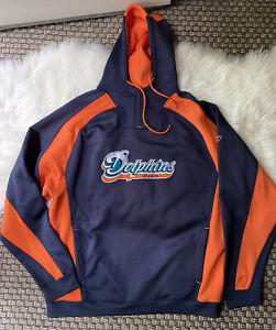 Reebok NFL Miami Dolphins Large Football Hoodie Logo Embroidery Sweatshirt (z)