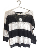 Nwt Sws Womens 3/4 Sleeve Striped Pullover Semi Sheer Knit Top Sweatshirt S $20