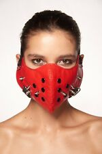 Bloody Red Faux Leather Mouth Face Cover Spikes Rocker Steam Punk Hannibal Mask