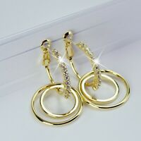 18k gold 925 silver stud made with swarovski crystal round hoop rings earrings