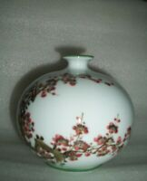 Vintage Chinese Pottery SQUAT Pot VASE Signed Hand Painted PRUNUS BLOSSOM TREE!