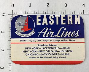 RARE - Vintage 1937 Eastern Air Lines Timetable CARD air fares airline