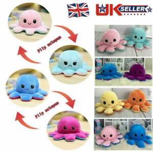 Funny Double-sided Flip Reversible Animal Doll Octopus Cute Plush Toy Present UK