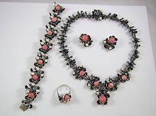 Set aus 835er Silber Perlen und Rhodochrosit BS Collier Armband Ohrclips Ring