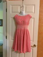 Kate Spade ~ Striped ~ Coral~ Cotton/Elastane  Dress~ Size Sm~  ~Free Shipping