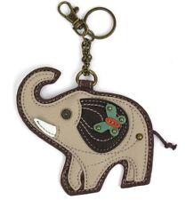 Chala Lucky Grey Elephant Key Chain Purse Leather Bag Fob Charm