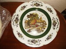 LARGE GILDED DISPLAY PLATE WOOD & SONS ASCOT SERVICE COTTAGE SCENE 10.5""
