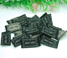 200pcs Black HANDMADE Deco Ribbon Tag Label Sewing Scrapbooking Crafts 33*15mm