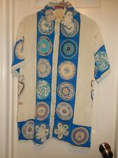 UNGARO Solo Donna Cream Blue 100% Silk S/S Button Front Tunic Top Blouse Sz 42/8